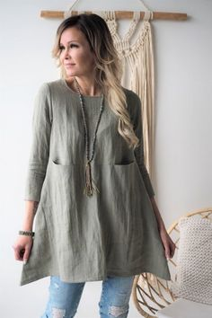 BYPIAS Linen Dresses, Tunics - BYPIAS Linen Tunic Dress, Long Sleeve Tunic Dress, Linen Dresses, Tunic Dresses, Denim And Lace, Fall Fashion Outfits, Boho Outfits, Ootd Fashion, Gothic Fashion