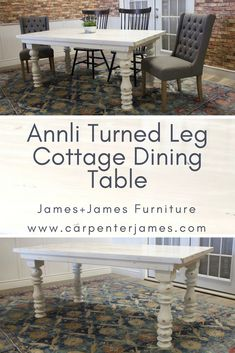 Create your dream dining room table & add the finishing touch to your open concept farmhouse, formal dining room or kitchen nook. Click to choose the size and color you need at CarpenterJames.com We'll build your table, you make memories.