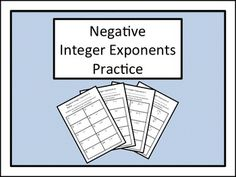 Many students have difficulty working with negative integer exponents. These four sets of practice problems and the accompanying hint sheets will provide that all important structure and support as students explore the concept. These worksheets may be used traditionally, or as four separate centers/stations of progressing difficulty.