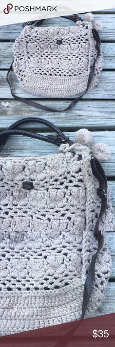 """COOL CHUNKY SOFT YARN KNIT HANDBAG TOTE PURSE BAG """"Z & L"""" Chunky Cozy ULTRA SOFT Open Woven Knit Faux Leather / Suede Hippy Hipster Hippie Boho Chic Festival Rave Textile Yarn Knitted Handbag Messenger Crossbody Shoulder Purse Tote Bag 