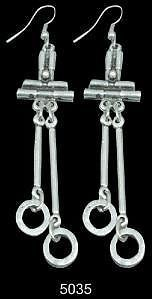 SILVER PLATED Lagenlook Turkish Ethnic Antique Style Abstract Ear-rings