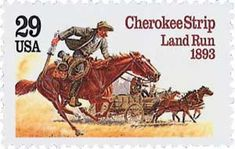 1993 Cherokee Strip Land Run 29 Cents US Postage Stamp Scott 2754 Mint Oklahoma Land Rush, Postage Stamp Collection, Old Stamps, Going Postal, Postage Stamp Art, Stamp Printing, Le Far West, Stamp Collecting, Art History