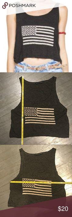 Brandy Melville Mirella Embroidered Flag Crop Tank Brandy Melville Mirella Embroidery American Flag Scoop Neck Tank Crop Top. One size fits most. 57% Cotton 40% Viscose 3% elastane. Measurements in pictures Brandy Melville Tops Crop Tops
