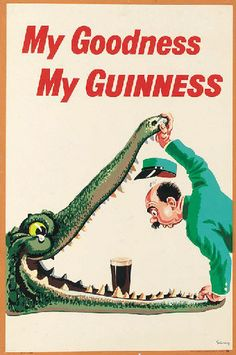 My Goodness My Guinness beer poster features a zoo keeper holding open the jaws of an alligator leaning in to find a pint of beer. The beautiful Vintage Poster Reproduction is from our catalogue of 1400 classic posters. Guinness by Gilroy . Guinness Recipes, Guinness Cake, Guinness Cupcakes, Hugo Guinness, Guinness Advert, Guinness Ireland, Sous Bock, Guinness Chocolate, Etiquette Vintage