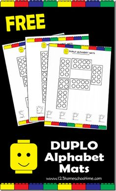 123 Homeschool 4 Me has a fun, playful way to introduce alphabet letters to toddlers and preschoolers using kid favorite Lego Duplos. Just print these FREE Duplo Alphabet Mats and use them to teach your child letters and numbers in no time. Preschool Literacy, Preschool Letters, Learning Letters, Kids Learning, Alphabet Letters, Lego Letters, Tracing Letters, Lego Kindergarten, Spanish Alphabet