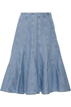 Michael Kors Fluted denim skirt NET-A-PORTER.COM