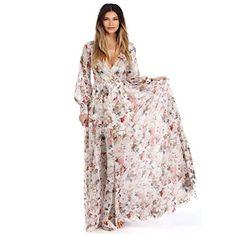 Women's Boho V Neck Long Sleeve High Waist Maxi Floral Dress Vestido Maxi Floral, Chiffon Floral, Long Floral Maxi Dress, Chiffon Maxi Dress, White Maxi Dresses, Maxi Wrap Dress, Maxi Dress With Sleeves, Casual Dresses, Print Chiffon