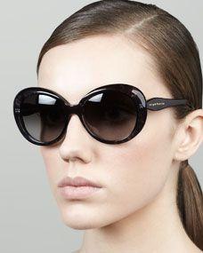 doriane watercolor round sunglasses, black