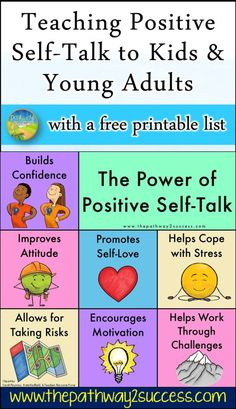 What is positive self-talk? Positive self-talk has the power to build kids and young adults up. These are the positive words and phrases we say to ourselves to help us feel encouraged and… Positive Self Talk, Negative Self Talk, What Is Positive, Activities For Teens, Health Activities, Social Skills Lessons, Coping Skills, Kids Mental Health, Health Education