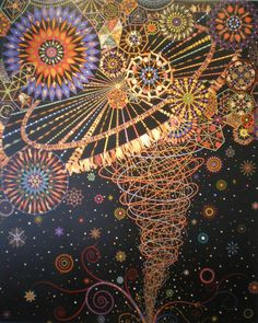 Fred Tomaselli uses hundreds if not thousands of tiny magazine cutouts, Styrofoam shapes, leaves, and pills to create larger images which feel unworldly due to their enormous size, and which, through their vivid detail and color, redefine what is natural and beautiful.