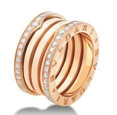 bzero ring is an eye catching mix of crisp white diamonds and warm pink gold ringsrose