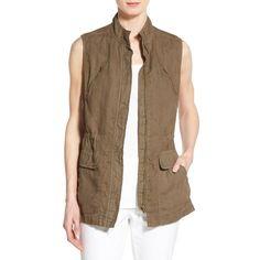 Petite Caslon Linen Utility Vest ($78) ❤ liked on Polyvore featuring outerwear, vests, olive tarmac, petite, pocket vest, army green utility vest, utility vest, lightweight vest and cinch vest