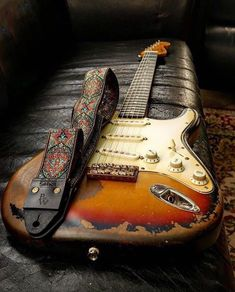 Great looking Strat with a sweet looking strap. #guitar