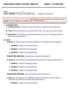 003 demonstrative speech outline template Google Search