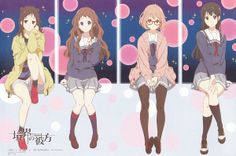 Anime, Four Girls, Hair Buns, Crossed Legs, Kyoto Animation, Kyoukai no Kanata, Kuriyama Mirai