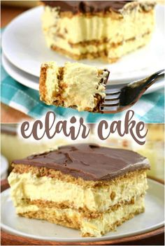 NO BAKE This Eclair Cake recipe is an old fashioned icebox cake with layers of graham crackers, pudding, and chocolate frosting. An easy no bake dessert recipe! No Bake Eclair Cake, Eclair Cake Recipes, Icebox Cake, Cookie Recipes, Baking Recipes, Easy No Bake Desserts, Köstliche Desserts, Delicious Desserts, Dessert Recipes