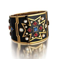 VERDURA - Chevalier Cuff - Sapphire, ruby, pearl, 18k yellow gold, diamond and black enamel, with precision hinge