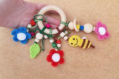 Crochet baby teething newborn first toy baby bee nursery bee flowers toy summer teething wooden ring teether wooden crochet toy organic baby