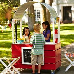 Love this lemonade stand - planning to brainstorm ways to simplify the construction, but keep the coolest parts (tin roof from window well, wheels...)