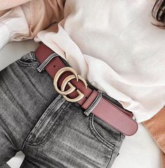 d0f90e79f13 Shop the Leather belt with Double G buckle by Gucci. A Double G buckle belt  made in our unfinished faded leather.