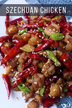 Crispy, tasty chicken pieces stir-fried with a generous amount of dried chillies and Sichuan pepper, Mala flavoured Sichuan chicken is packed with excitement on your palate. #sichuan #chicken #redhousespice Meat Recipes, Asian Recipes, Chicken Recipes, Cooking Recipes, Ethnic Recipes, Mala Chicken Recipe, Oriental Recipes, Japanese Recipes, Dishes Recipes