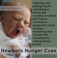 Crying is a late hunger cue.  Look for these early and active newborn signs of hunger. #breastfeeding #baby
