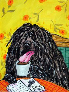 Items similar to Puli , puli art - puli PRINT - coffee - coffee art - gift - modern dog art - folk art, on Etsy Cafe Pictures, Dog Pictures, Folk Pop, Coffee Shop Signs, Puli Dog, Black Russian Terrier, Dog Cafe, Modern Pop Art, Dog Signs