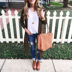 Olive cardigan + brown booties.