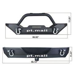 Front Bumper w/Winch Plate+Rear Bumper w/D-Rings for 87-06 Jeep YJ TJ Wrangler U