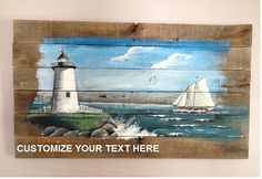 Ocean Scene Pallet Painting, Distressed Wood Art, Rustic Chic, Lighthouse Painting, Reclaimed Wood, Pallet Art
