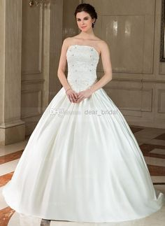 Cheap Bridal Gowns - Discount 2014 Wedding Dress Ball Gown Strapless Puffy Floor Online with $132.62/Piece | DHgate