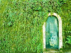 Porta em meio ao muro verde na vila de Sintra, região de Lisboa, Portugal.