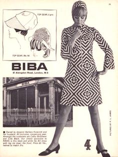BIBA 87 Abingdon Road, London, W.8. Black and white Op Art dress with big zip down the front. Price £3 10., helmet to match 21s.