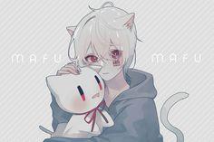 Aww cuddling the stuffy? You're such a cute Neko boy Neko Boy, Anime Guys With Glasses, Hot Anime Guys, Manga Eyes, Manga Boy, Chibi, Anime Kunst, Anime Art, Vocaloid