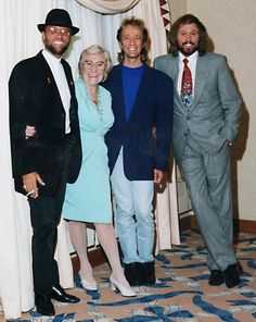 Barbara Gibb with Maurice, Robin and Barry