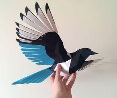 Animal Paper Model - Magpie Bird Papercraft 2