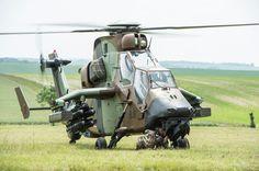 French Armée de Terre Eurocopter EC665 Tigre attack helicopter of 1er régiment d'hélicoptères de combat (1er RHC) during live fire exercises 265 June 2014.