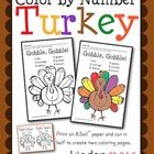 Get into the Thanksgiving spirit while working on color words with this cute color by number Thanksgiving turkey page. A quick, cute, fun way to re...