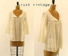 70s Eyelet Blouse Medium / 1970s Bohemian White by CrushVintage