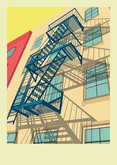 Greenwich Village - New York City Illustration by Remko Heemskerk: