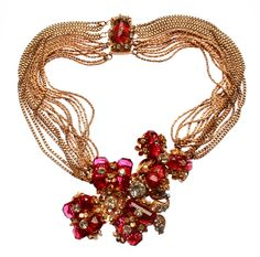 Miriam Haskell Multi Strand Necklace with Faceted Glass Flowers 2