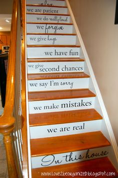 Home with Heather: Steppin' Up in Style -- love the idea of vinyl lettering with your favorite poem or story up the stairs...