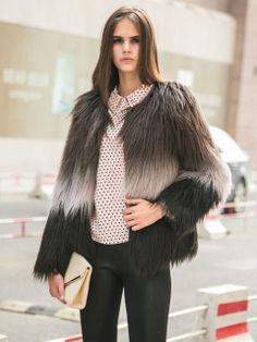 Brown Tie-Dye Faux Fur Warm Coat