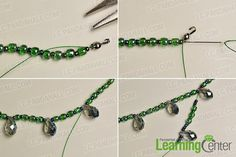 Make the second part of the green seed beads necklace