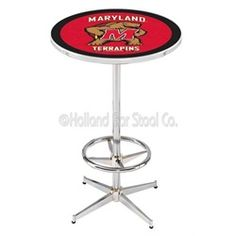 University of Maryland Terps Chrome Pub Table With Foot Rest