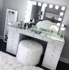 SlayStation® Pro Tabletop + Vanity Mirror + 5 Drawer Units Bundle - Impressions Vanity Co. - SlayStation® Pro Tabletop + Vanity Mirror + 5 Drawer Units Bundle – Impressions Vanity Co. Cute Room Decor, Teen Room Decor, Beauty Room Decor, Black Room Decor, Makeup Room Decor, Wall Decor, White Decor, Sala Glam, Vanity Room