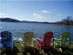nothing like adirondack chairs next to the lake.
