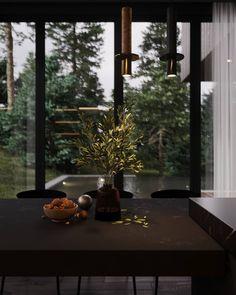 Black house in the woods, United States|Villa House Layout Plans, House Layouts, House In Nature, House In The Woods, Interior And Exterior, Home Interior Design, Art Deco Kitchen, Dark House, Dark Photography