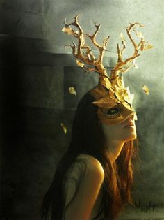 Papier mache mask . . . inspiring! But how would it stay on her head? Hm.