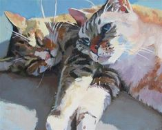 "Daily Paintworks - "" Daily Paintworks - ""Cat Nap"" - Original Fine Art for Sale - Kaethe Bealer Art And Illustration, Illustrations, Animals Watercolor, Watercolor Cat, Paintings I Love, Animal Paintings, Guache, Cat Drawing, Dog Art"